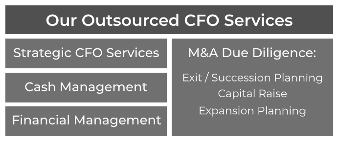 Strategic CFO Services, Cash Management, Financial Management, M&A Due Diligence, Exit / Succession Planning, Capital Raise Expansion Planning, Forecasting
